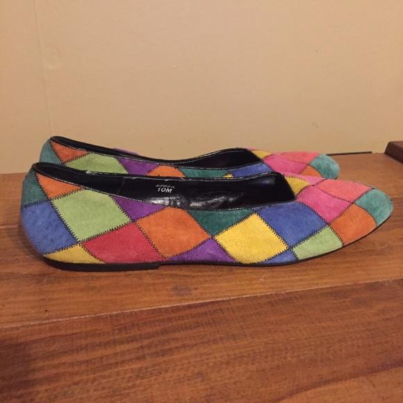 2cbf9da79cefc Vintage 80s Rainbow Patchwork Suede Flats